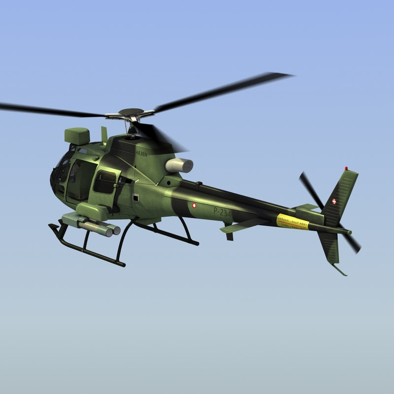 3d model as550 c2 fennec helicopter