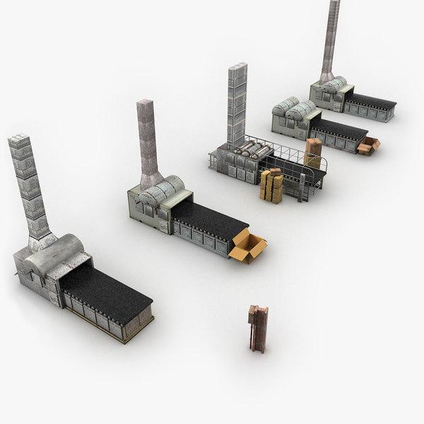 Factory Machines Textured Scene