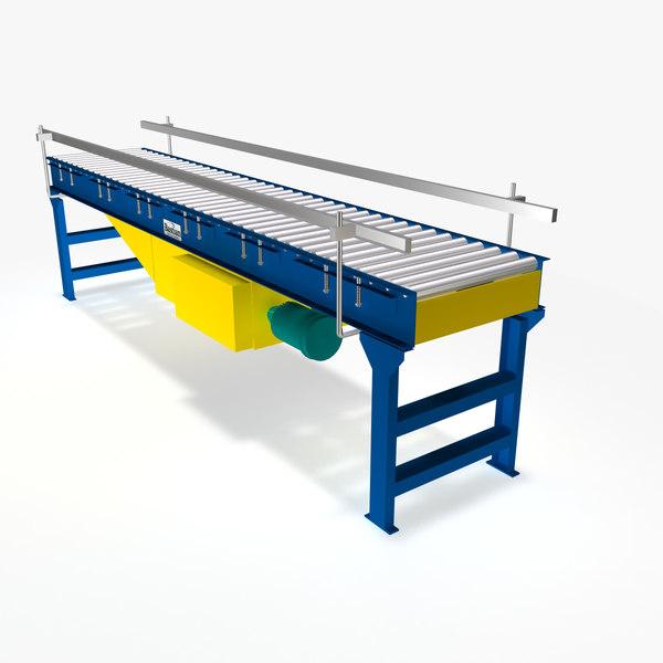 live roller flat belt 3d model