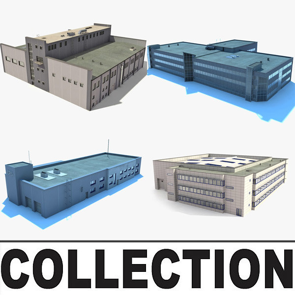 3d industrial buildings warehouses model