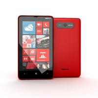 new nokia lumia red 3d model