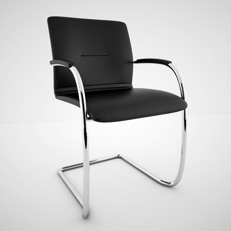 modern cantilever meeting chair 3d model