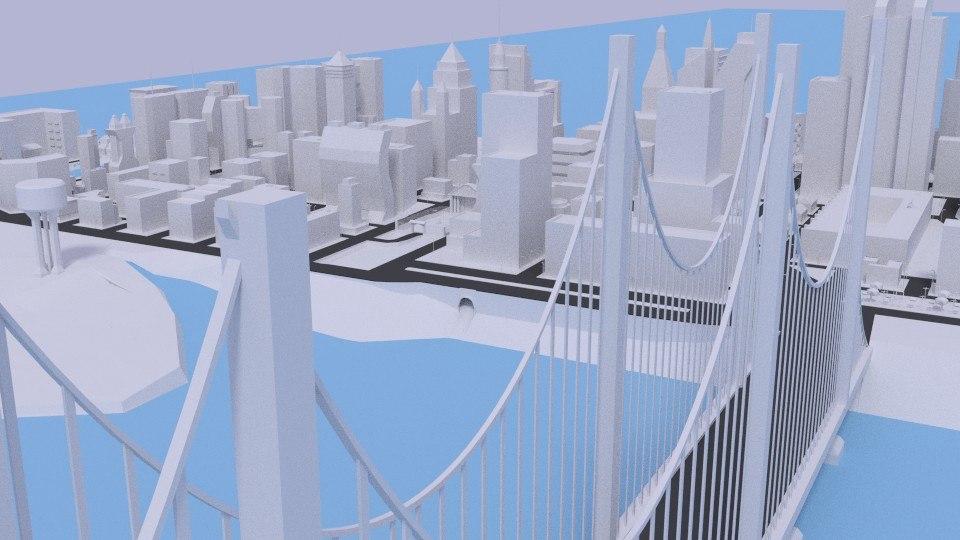 3d model city squares bridge