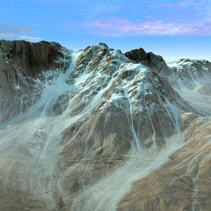 Mountain Terrain Landscape Snowy