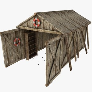 Wooden Plank Garage Shed