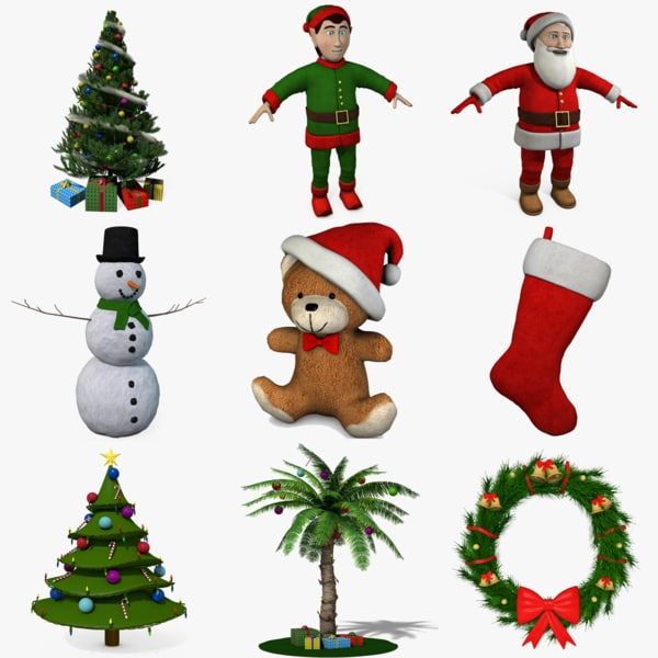 3d model christmas tree presents santa claus