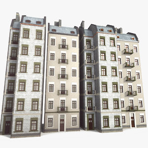 tileable classical houses 5m obj