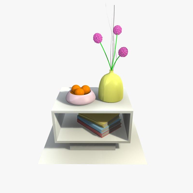 3d white table decor model