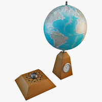desk globe clock 3ds