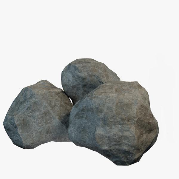 3d model pebble boulder