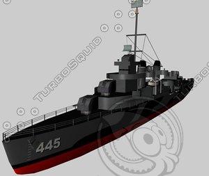 3d model of uss dd445 flecher