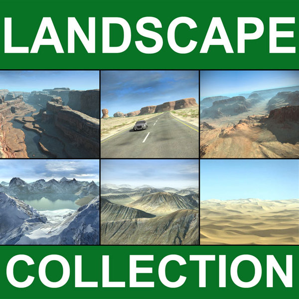3d model landscape desert mountains terrains