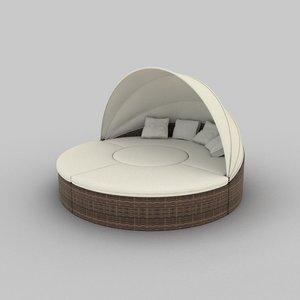 3d model of rattan seat set 01