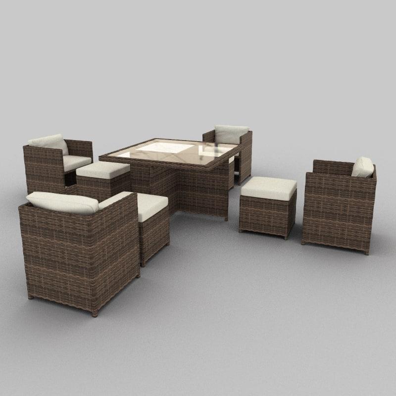 3d rattan seat set 12 model