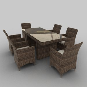 rattan seat set 14 3ds