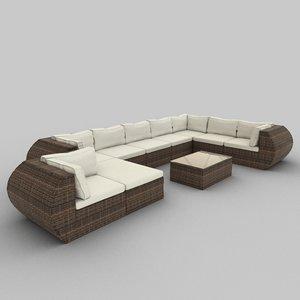 3ds rattan seat set 15