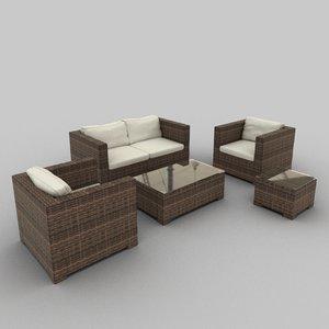 3d model rattan seat set 21