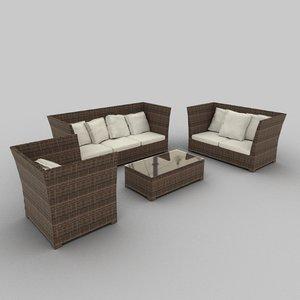 rattan seat set 22 3ds