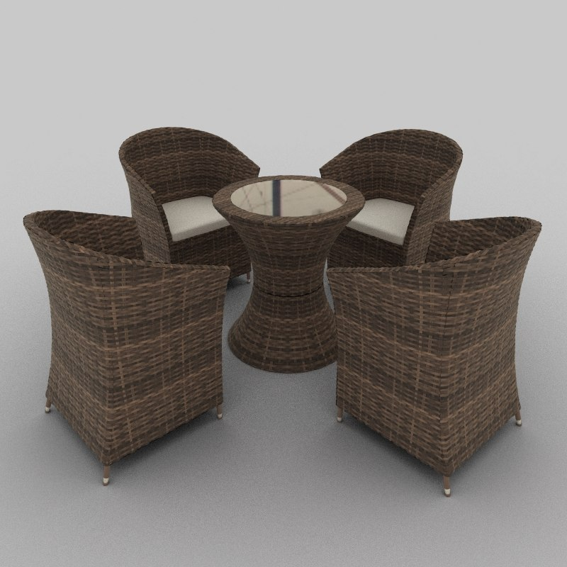 3d model rattan seat set 27