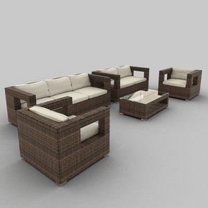 3d model rattan seat set 30