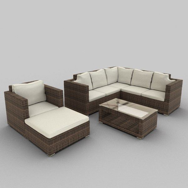 3d model rattan seat set 36