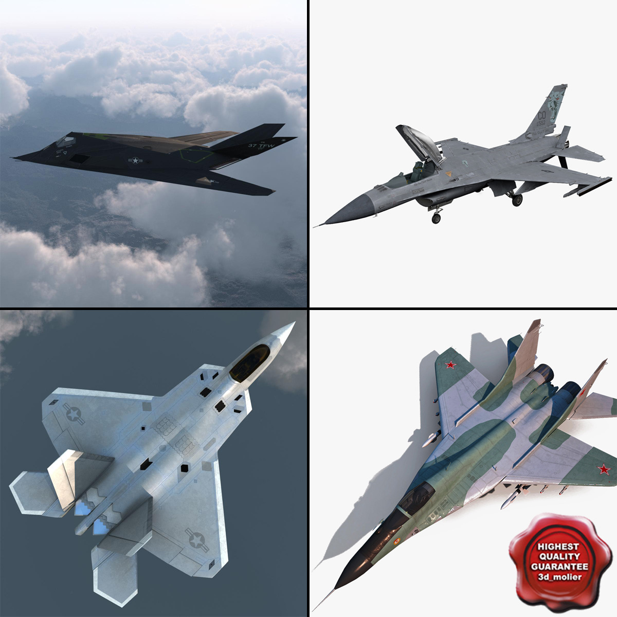 3ds max jet fighters rigged f 117