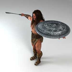 warrior weapon shield 3d 3ds