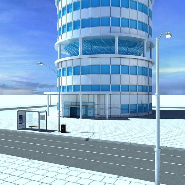 3dsmax building streetlights roads