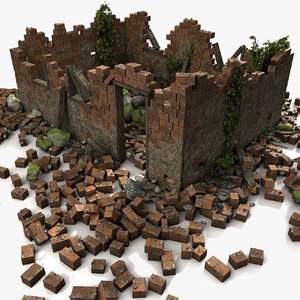 building debris remains 3d model