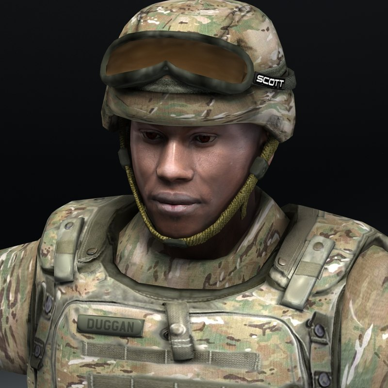 army soldier multicam bdu 3d model