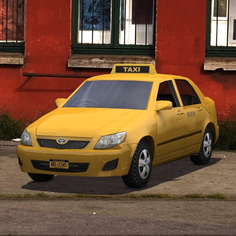 toyota corolla taxi cab 3d model