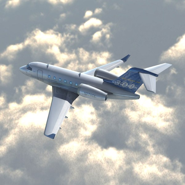 bombardier challenger cl300 private jet 3d model