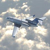 bombardier challenger cl300 private jet 3d model