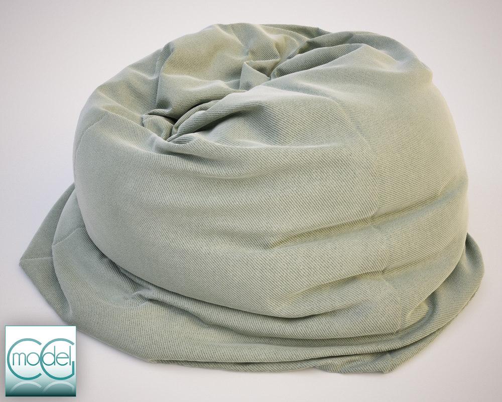fabrics bean bag chair 3d c4d
