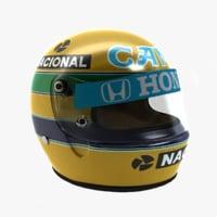 ayrton senna helmet 1987 3d model