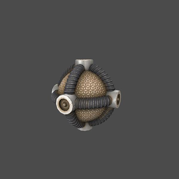 3d model sci-fi bomb v3