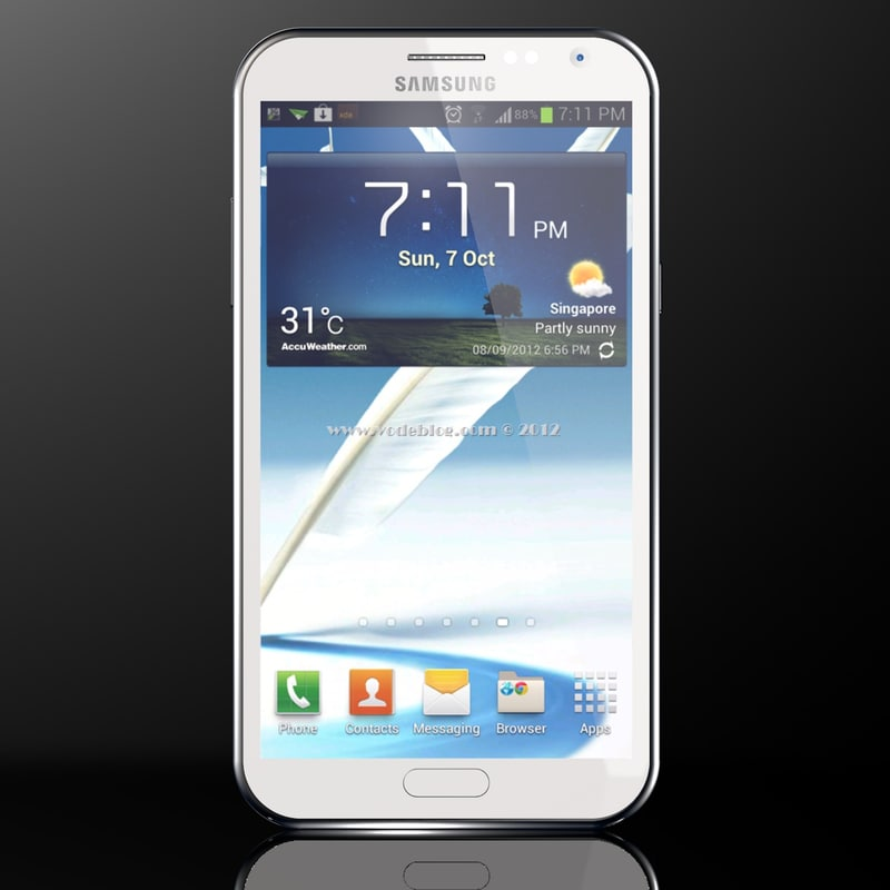 3d model samsung galaxy note white