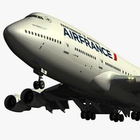 boeing 747-400 air france 3d blend