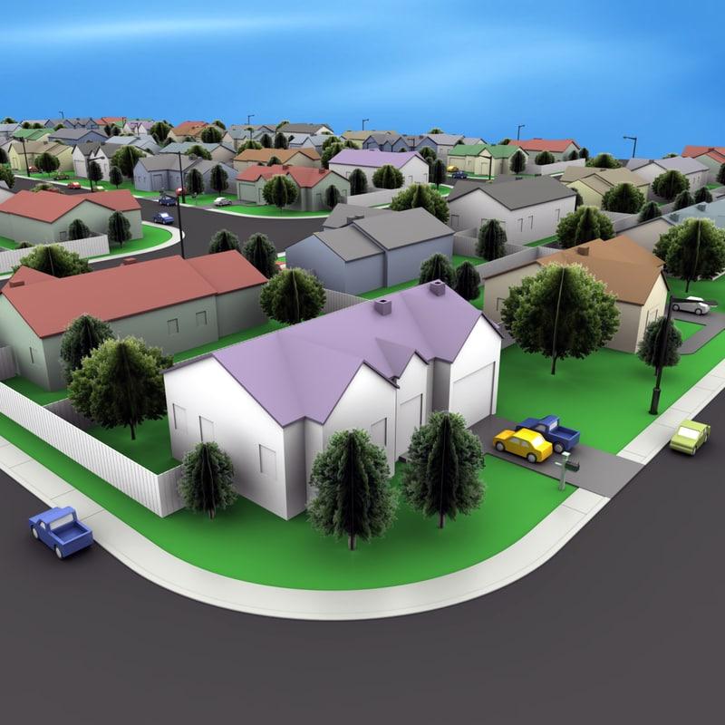 3d model neighborhood block