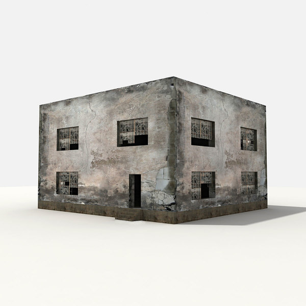 3d ruined building damaged model