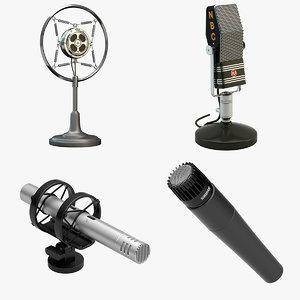 4 microphones set shure 3d max