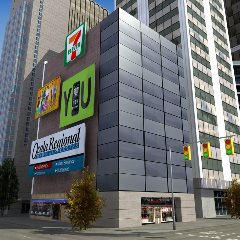 downtown city block 3d model