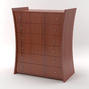embrace chest drawers mahogany 3d model