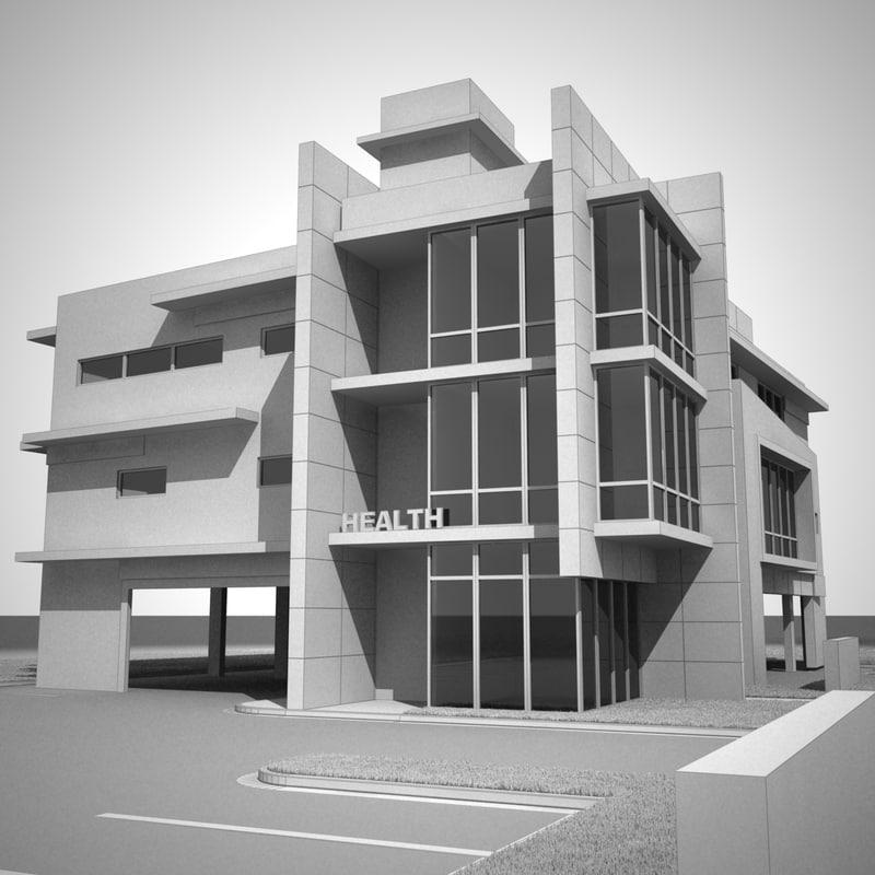 modern medical office building 3d model