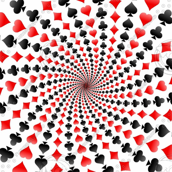 Poker Card Suits Spiral Image Set
