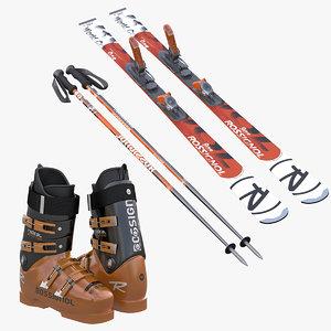 alpine boots ski poles 3d model