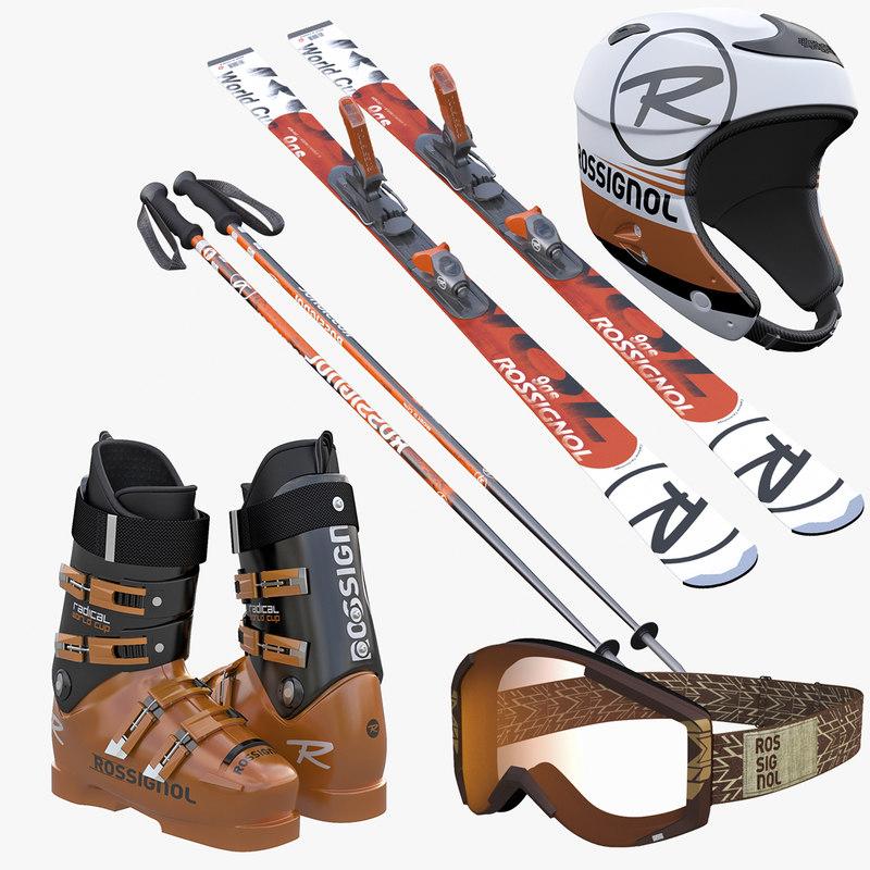 3ds max alpine ski boots helmet