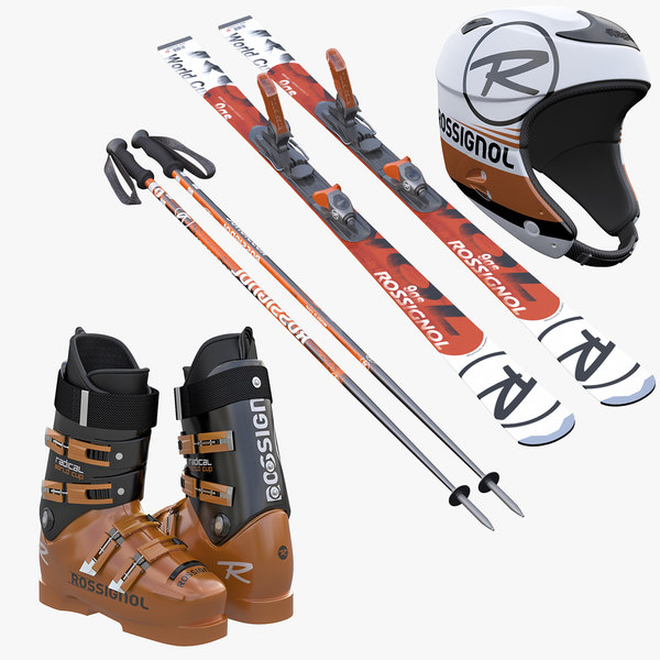 Alpine Ski Boots Helmet  Poles Collection