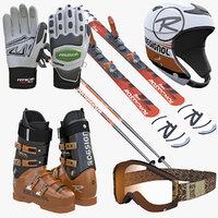 alpine ski boots helmet 3d model
