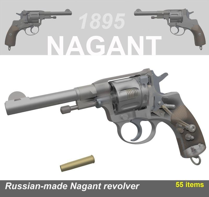 3d model revolver nagant pistol